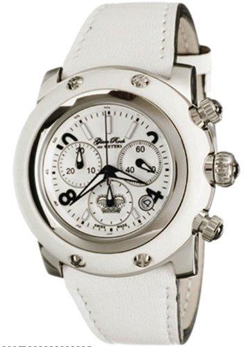 Glam Rock GR10101 - Reloj cronógrafo de mujer de cuarzo con correa de piel blanca - sumergible a 100 metros