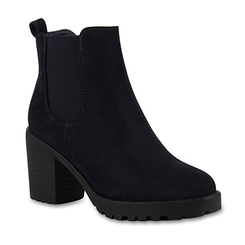 Stiefelparadies Damen Stiefeletten Wildleder-Optik Glitzer Chelsea Boots Animal Prints Profilsohle Knöchelhohe Stiefel Flandell Marine Blau