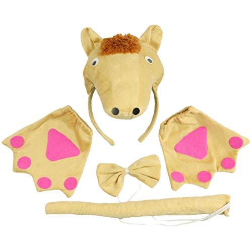 Pferd Schwanz Kostüm - Amosfun Kinder Tier Kostüm Set mit