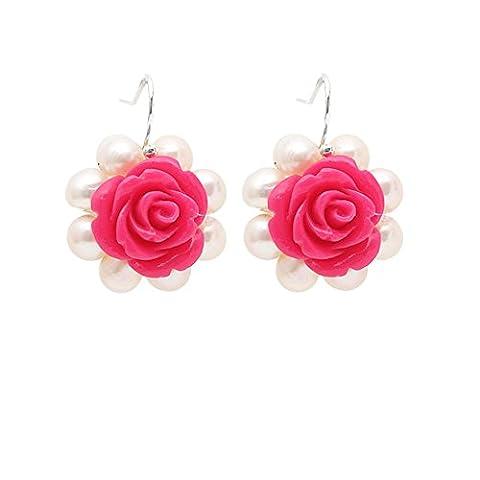 élégantes perles d'eau douce blanches et rose chaud fleur acrylique percé longueur des boucles d'oreilles: 2.5cm