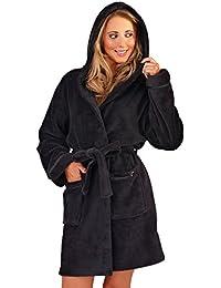 Albornoz con capucha para mujer, con forro polar, supersuave, detalles en coral