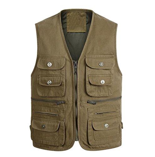 ZGJQ Men's Outdoor-Baumwolle lose Multi-Pocket-Weste Mittleren Alters Weste Cowboy Weste (Farbe : Grün, größe : L) (Alten Westen, Cowboys)