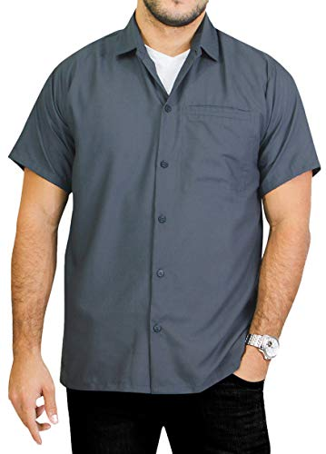 La leela shirt camicia hawaiana uomo xs - 5xl manica corta hawaii tasca-frontale stampa hawaiano casuale regular fit grigioplain 4xl