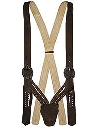Hosenträger Lederhosenträger Flecht-Träger V-Form braun Trachten-Hosenträger Trachtenträger für Lederhose aus Leder geflochten abknöpfbar braces suspenders
