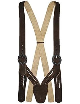 Lederhosenträger V-Träger Lederhose braun Trachten-Hosenträger Trachtenträger