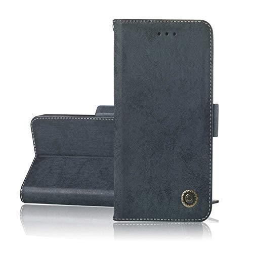 DENDICO Cover Galaxy S8 Custodia Portafoglio in Pelle per Samsung Galaxy S8 [Conarta Fessura] [Chiusura Magnetica] - Blu Navy