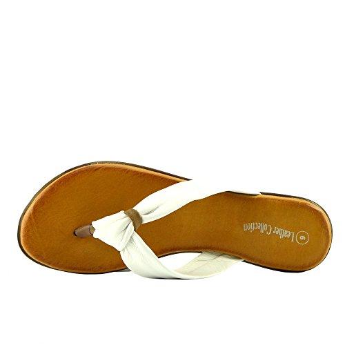 Kick Chaussures Femme Fashion Tongs Summer Beach Sandales Chaussures en cuir naturel White F0930