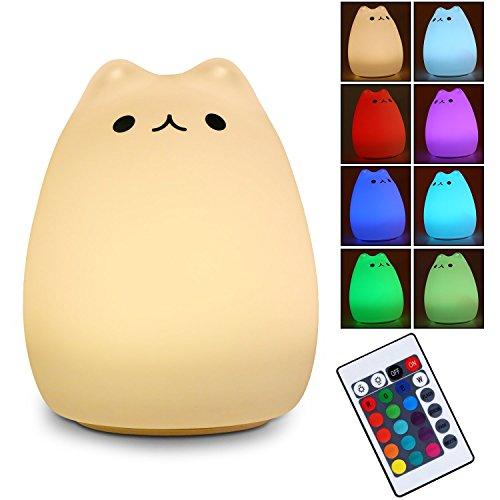 LED Nachtlicht - Nachtlicht Kinder Neonate Nachtleuchte USB Nachladbares LED Multicolor Nachtlampe mit Multifunktionaler Fernbedienung für Kinder Schlafzimmer Home Decorate (Fernbedienung naughty cat)
