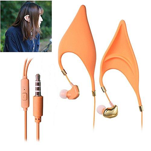 Pawaca In-Ohr-Bluetooth-Kopfhörer, Elf Ohren Bluetooth-Ohrhörer Kopfhörer Spirit Fairy Cosplay Schnurgebundenen Kopfhörer für Smartphone Iphone Ipad-(Verdrahtet)