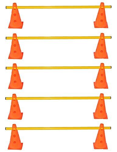 Agility Hundesport - 5er Set Steckhürden - 10x MZK: 23 cm, orange / 5x Stange: 100 cm, gelb