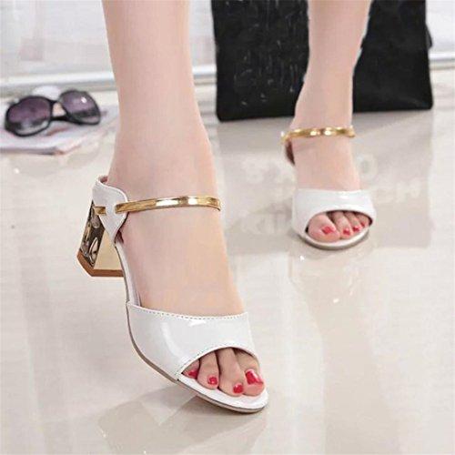 Malloom® Sandalen, Sommer Rough Sandalen Frau Open Peep Toe High Heel Bequeme Schuhe Weiß