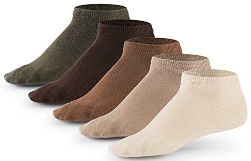 10 Paar Sneaker Socken von Mat & Vic's für Sie und Ihn | Cotton classic (43-46, Earth Colors - braun beige) | 35 36 37 38 39 40 41 42 43 44 45 46 47 48 49 50 | OEKO-TEX Standard 100 - Und Grün Sneakers Grau