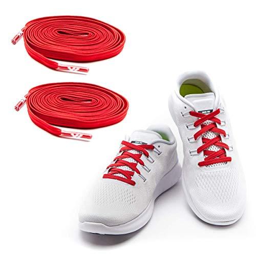 MAXX laces Flache elastische Schnürsenkel mit Einstellbarer Spannung Schuhbänder ohne Binden komfortable Schuhbinden einfach zu bedienen Passt zu jedem Schuh Rot-stopper