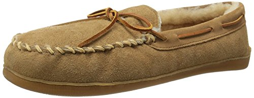 Minnetonka Men's Golden Tan Sheepskin Hardsole Moccasin 7 E US