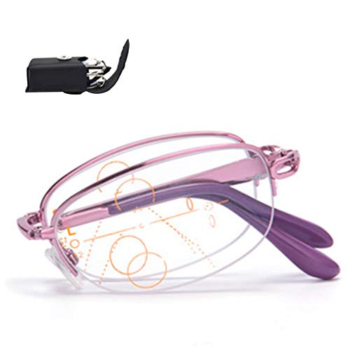 AYHMT Lesebrille X1, Federscharnier Mode Leser, Full-Frame Kompakt Zusammenklappbare Tragbare Brille Zum Lesen, Nah Und Fern (Lila, Rosa)