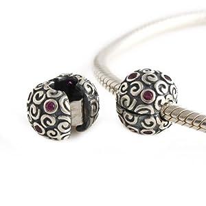 Andante-Stones 925 Sterling Silber Bead Charm Clip Stopper * Sphere Beere * Oxidiert mit Zirkonia – Element für European Beads Modul Armband + Organzasäckchen