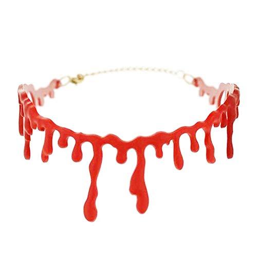 Kostüm Rot Stich - SaniswinkHalloween-Halsband, realistisches Bluttropfende Stiche, Halsband, Kostüm, 1 Stück