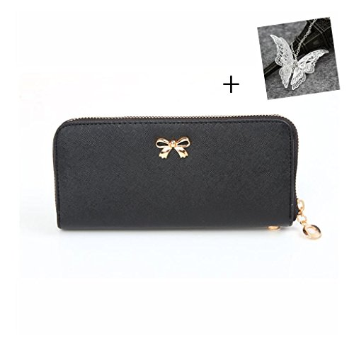 atdoshop-fashion-korean-cute-bowknot-purse-solid-wearable-wallet-for-women-black