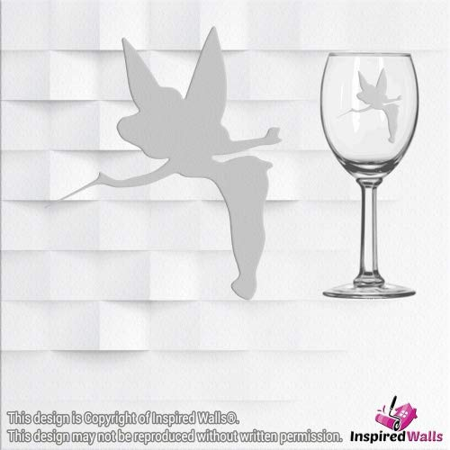 Tinker Bell Vinyl Sticker Decal Glitter Wine Glass Wall Mirrors Tasse Laptop CUP by Inspired Walls®, silber (Windows 7 Enterprise Laptop)