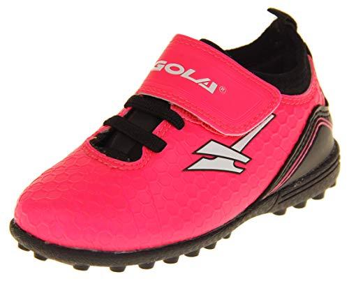 Gola Mädchen Activo5 Astroturf Fußballschuhe Sports Turnschuhe Klettverschluss Pink und Schwarz EU 29