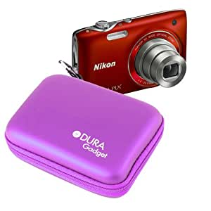 DURAGADGET Hard Purple Camera Case With Strong Dual Zip For Nikon Coolpix S9500