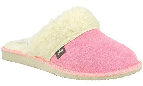 Rbj leather shoes . pantofole scamosciate da donna modello imbottito in morbida lana di pecora (38 eu, rosa 941)