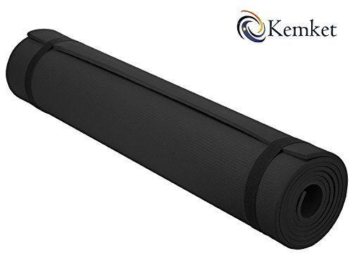 Esterilla Kemket antideslizante para ejercicios, fitness o yoga, 10 y 15 mm de alta densidad, antirroturas, con correa de transporte, color negro, tamaño 10 mm, 0.99, 23.62 x 7.09 x 7.09inches