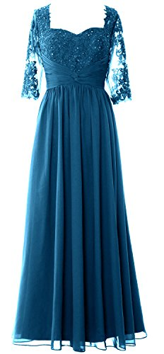 MACloth Illusion Half Sleeve Mother of Bride Dress Lace Formal Evening Gown Teal
