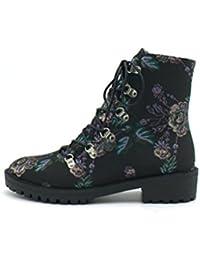 QPYC Señoras tacón crudo botas femeninas Ronda cabeza Martin botas botas de tacón bajo botas cortas Patrón de flores , flowers , 38