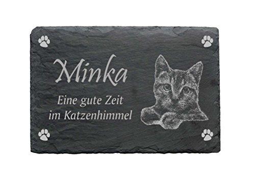 Gedenktafel « KATZE » aus Schiefer - ca.22 x 16 cm - Wetterfeste Gravur