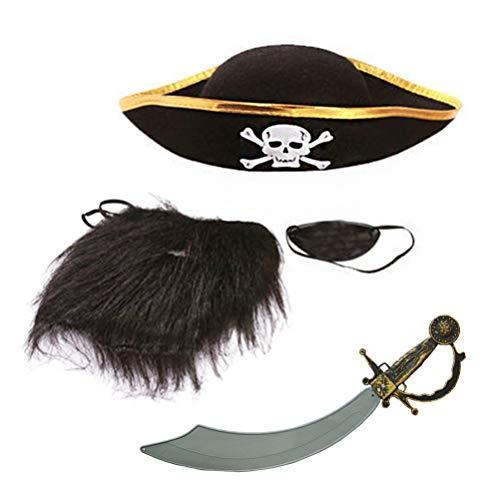BESTOYARD 4 stücke Halloween Piraten Kostüm Set Schnurrbart Set Augenklappen Hut Messer Requisiten für Erwachsene Kinder Leistung Cosplay Party Dress Up Kostüm (4 Stück Piraten Kostüm)