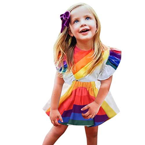 KIMODO Kleinkind Baby Mädchen Kleid Rückenfrei Regenbogen-Drucken Kleid Rüschen Ärmel Urlaub Strandkleid Sommer Prinzessin Outfit Kleidung