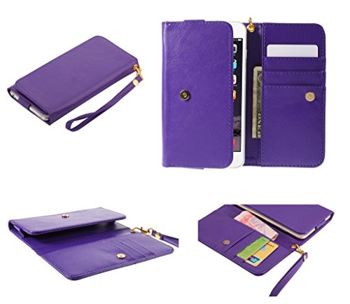DFV mobile - Cover Premium Crazy Horse PU Leather Wallet Case with Card Slots for => Maxwest Android 4000 > Purple (Maxwest Android-4000)