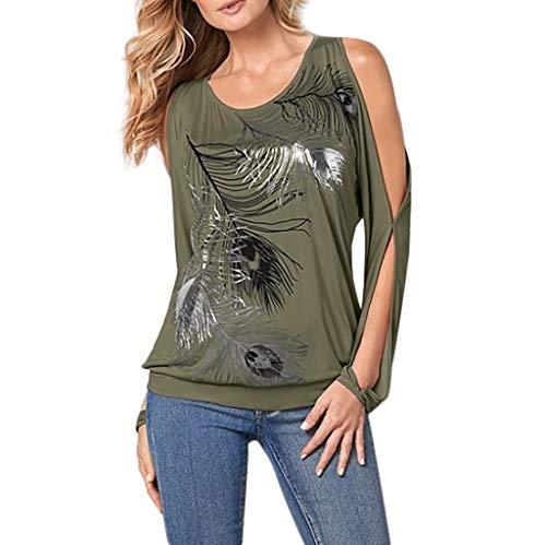 (Zegeey Damen Sommer T-Shirt Rundhalsausschnitt Hollow Out Bedruckte Einfarbige Bluse Tops Oberteile(Armeegrün,XL))