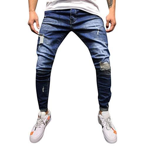 Dragon868 pantaloni uomo cotone denim skinny jeans strappati metà vita pencil pants taglie forti 3xl blu scuro