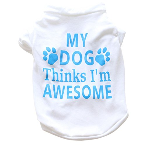 Etophigh New Lovely Pet Baumwolle Awesome Gedrucktes Kurzärmliges Hunde T-Shirt Weste Sommer Mantel Puppy Kostüme Outfit (Awesome Kostüm Für Hunde)