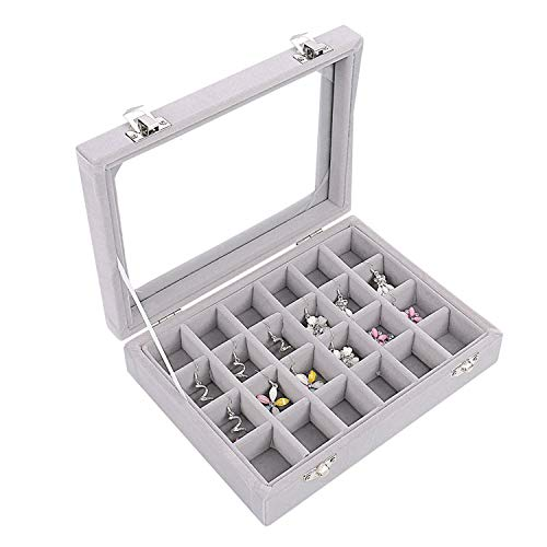 """Schmuck Ring Display-Box (24 Fächern) - Samtenen Schmucklade L20cm(7.87\"""") D15cm(5.90\"""") H4.5cm(1.77\"""") mit Glas Deckel, Ringhalter Aufbewahrung Organizer - Anhanger Ohrringe Manschettenknopfe"""