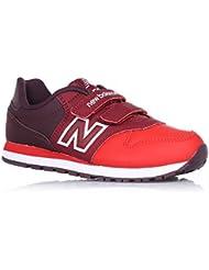 NEW BALANCE - Zapatilla deportiva roja, en cuero y tela, con velcro, con logo lateral y posterior, Niña, Niñas-31