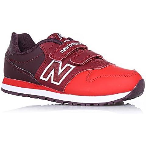 NEW BALANCE - Zapatilla deportiva roja, en cuero y tela, con velcro, con logo lateral y posterior, Niña,