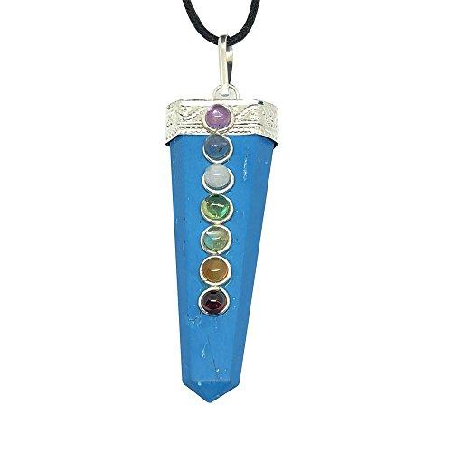 Kunsthandwerk aus natürlicher Edelstein Single Point Chakra Anhänger Halskette echtem Schmuck ethisch aus Indien Versenden im Einzelhandel Geschenk-Box (türkis) (Crystal Point Halsketten)