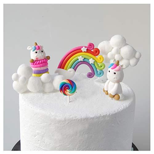Aroong - Juego de 6 decoraciones para tartas con diseño de nubes de arcoíris y unicornio