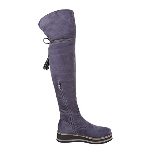 Overknee Stiefel Damen Schuhe Klassischer Stiefel Leicht Gefütterte Reißverschluss Ital-Design Stiefel Grau