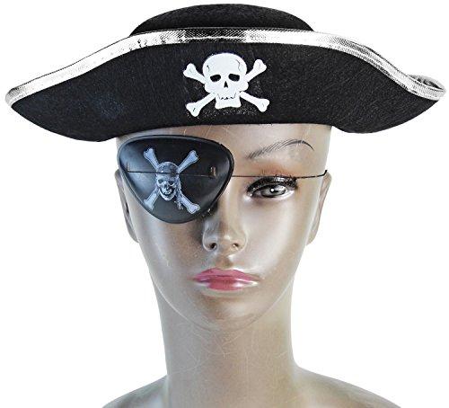 Kinder Piraten Hut mit Totenkopf Schwarz / -
