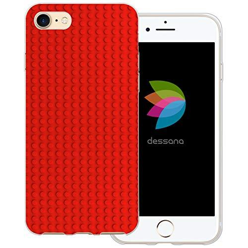 dessana Bausteine transparente Schutzhülle Handy Case Cover Tasche für Apple iPhone 8 Roter Baustein
