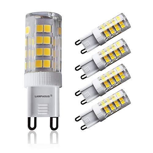 Lampaous Led G9 , blanc du jour 4000k, 5w G9 LED équivalent aux ampoules halogènes de 40 W. 350-400 lumens; angle de faisceau : 360 dégrées; basse consommation; not dimmable, lot de 4 ampoules