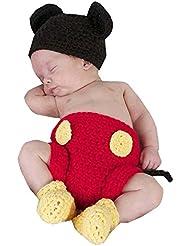 SAMGU Costume bébé nouveau-né Photographie Prop mignon Crochet Bonnet Cap Fille Garçon Diaper Chaussures