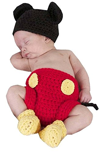 SAMGU Neugeborene Fotografie Prop Baby Kostüm niedlich Crochet Strickmütze Cap Mädchen Jungen Windel Schuhe (Niedliche Kostüm Baby Jungen)