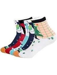 Calcetines de algodón Patrón estampado Fantasía Navidad Casual Unisex Invierno Lote ...