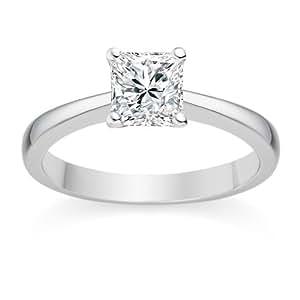 Diamond Manufacturers, Damen, Verlobungsring mit 0.25 Karat D/VS1 feinem und zertifiziertem Princessdiamant in 18 Karat (750) Weißgold