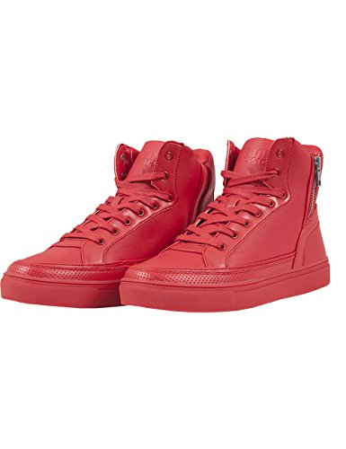 Urban ClassicsZipper High Top Shoe - Scarpe da Ginnastica Basse Unisex - Adulto , Rosso (Rot (fire red  697)), 42
